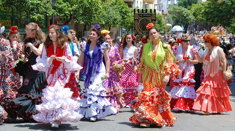 Flamenko šokiai Ispanijos gatvėse